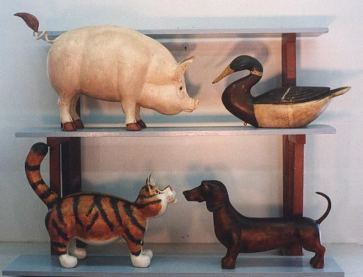 Pig, Mallard, Cat and Dachshund