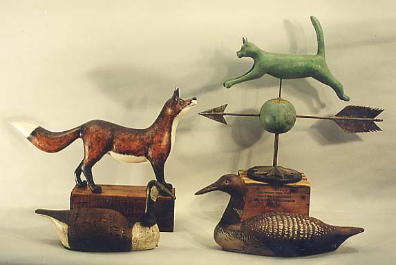 Fox, Cat Weathervane, Canada Goose, and Loon